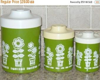 Vintage Canister Enamel Set Three Piece Sugar Flour Tea