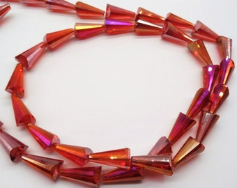 19mm Cone Shaped Transparent Red Glass Beads Crystal Beads Faceted Crystal Beads AB Glass AB Crystal
