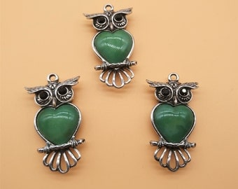 Rhinestone Owl Charms - Heart Charm, Antique Silver, Hollow Carved Charm, Gemstone Charm, Metal Charm, Green Gemstone, Green Rhinestone