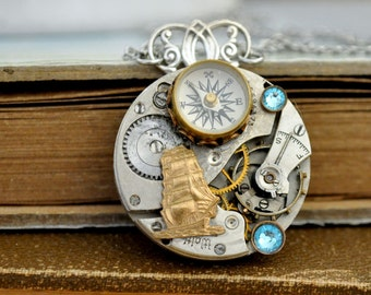 steampunk jewelry necklace JOURNEY Till END Of TIME vintage watch movement necklace in antique silver with miniature working compass charm