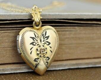 vintage gold filled heart locket, small locket, small heart, petite heart charm,