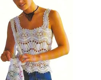 Crochet Pattern - Top/Camisole Filet and matching Purse Charted Pattern Instant download