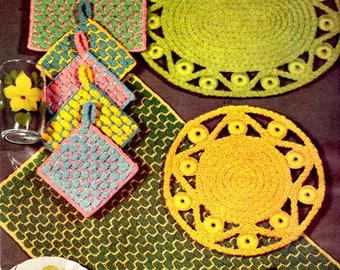 Crochet Pattern INSTANT DOWNLOAD - Crochet Rope Place Mat Set