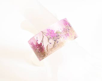 Resin Cuff Bracelet With Moss And Pink Flower -Resin Bracelet-Resin Jewelry- Resin pink  Bracelet-Mother's Day Gift -Resin Bangle Bracelet-