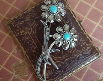 sterling silver daisy brooch, with hematite and marcasite