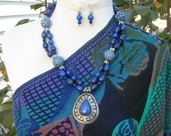 GORGEOUS Silk Road Necklace Set, Afghan Lapis Medallion, Top Quality Lapis, Blue Jade & Bindu Beads, Statement Necklace Set by SandraDesigns