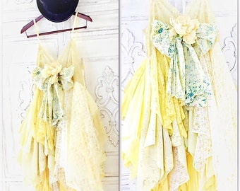 S Boho sundress, Gypsy spell, Anthropologie dress, Yellow, French Market Chic Boho Slip Dress, Yellow Spring Lace Dress, True Rebel Clothing