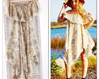 SALE M Boho Sundress, Off The Shoulder Gypsy Soul Spring Summer Dress, boho Dress, Bohemian Style Ruffle Hanky Hem Dress True Rebel Clothing