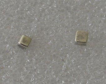 3mm Square Cube  Sterling Silver  Post Earrings