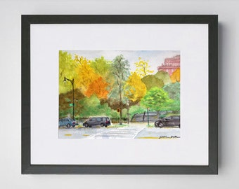 Morningside Park in Fall Harlem NYC Watercolor Painting Original Art Framed
