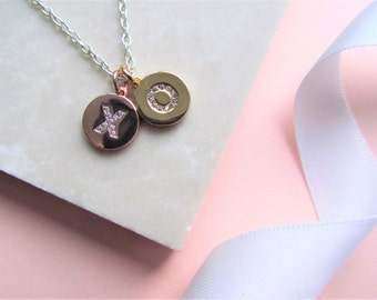 Hugs and Kisses Necklace, Rose Gold Necklace, XO, Gold and Rose Gold Charm Necklace, Valentines Day Gift