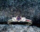 Reserved for Meredith-Purple Sapphire & White Topaz 3 Stone Ring  Final Pymt