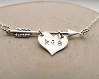 Arrow Necklace with Personalized Heart Charm Sterling Silver, Romantic Jewelry, Valentine's Day Gift, Boyfriend Girlfriend, Couples Initial