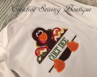 Turkey baby gown or one-piece, Thanksgiving baby layette, baby gown monogrammed, Baby bodysuit, chevron, baby gown, choice of name and size