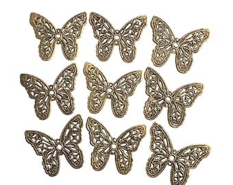 Brass Butterfly Filigree Findings Stampings for Jewelry Card making Scrapbook set of 27 recovery