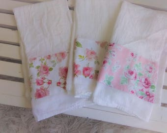Set of 3 Lovely Pink Rose Tea Fabric Trimmed Flour Sack Pink and Green Towel Kitchen Towel Tea Towel All Cotton