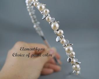 Bridal Pearl Tiara, Pearl Headband, Silver Leaf Hair Piece, Ivory White Brown Pearls Clusters, Beaded Hairband, Wedding Hair Accessories