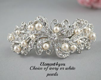 Bridal barrette, Rhinestone pearl barrette, Bridal hair barrette, Wedding Hair piece, Swarovski pearls, Ivory White Wedding Accessory