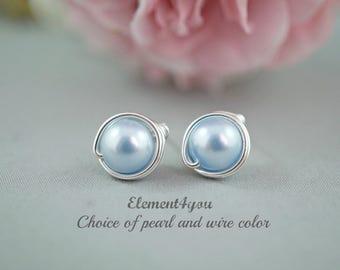 Studs earrings, Bridesmaid stud earrings, Bridal post, Flower girl stud earrings, Wedding jewelry, Wire wrapped studs, Blue White Champagne