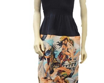"US Handmade Fancy DRESS With ""Aztec"" Pattern, Cotton Fabrics, Uni-Size, Fits; S, M, L, XL, New"
