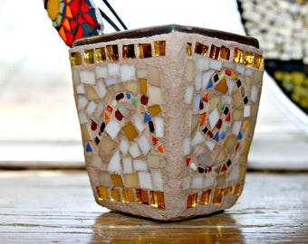 Mosaic Flower Pot, Mosaic Stained Glass, Mosaic Flower Pot, Mosaic Holder, Desk Accessory, Birthday, Gardener, Retirement, Gift, Anniversary