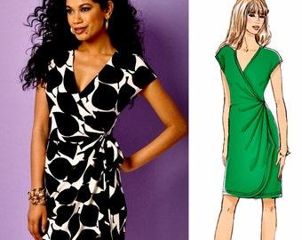 Close Fit Wrap Dress Pattern, Stretch Knit Wrap Dress Pattern, Butterick Sewing Pattern 6054