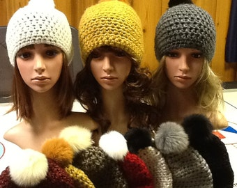 Real Fur Pom Pom Hats