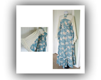 Vintage 70s Gunne Sax maxi hippie dress - huge lace/fabric sleeves - inset lace sleeves -