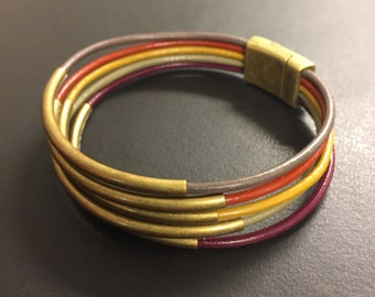 leather wrap bracelet, autumn colors, fall accessories, autumn trends, shown with antique gold tubes