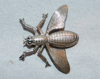 Brooch Wasp Bee, Insect Fly Silver tone, Vintage old jewelry