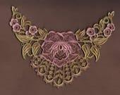 Hand Dyed Bridal Rose Medallion Venise Lace Applique  Aged Shabby Rose