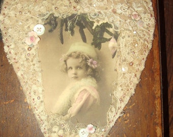 Vintage Lace Heart Collage Ornament  Winter Girl in Pink