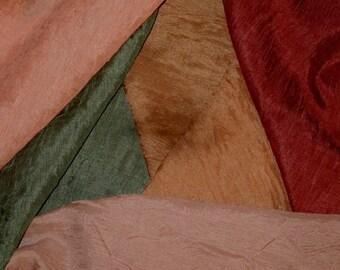 Crazy Quilt Fabric Sampler  Silk Blend Crinkle Fabrics Bright Hues