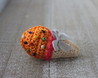 Amigurumi ice cream brooch, orange ice cream, crochet ice cream brooch, sweet brooch, brooch ready to ship