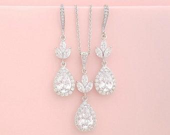 Wedding Jewelry Set, Crystal Pendant Earring Set, Crystal Wedding Set, Rose Gold Bridal Set, Gold, Dangle Earrings Cubic Zirconia, Lotus