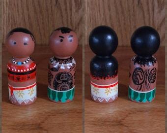 Peg people: Moana and Maui set