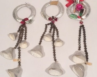 Foil Wreaths with Glass Beads and Bells Made in Japan Vintage Silver Christmas