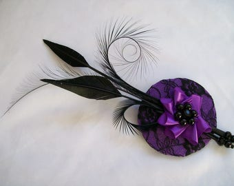 Ultraviolet Cadbury Purple and Black Lace Mini Percher Fascinator with Black Feather Plume and Crystal Centre - Ready Made - Wedding Ascot
