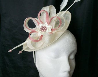 Cream Ivory & Dusky Rose Pink Pastel Pandora Saucer Sinamay Loop Feather Pearl Fascinator Headpiece Wedding Derby Ascot- Made to Order