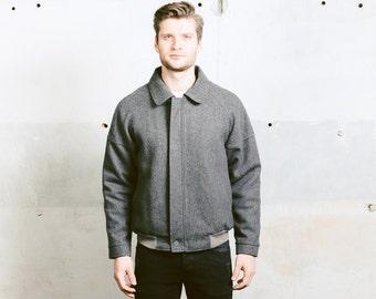Vintage 80s Wool Bomber Jacket . Men's Vintage Grey Harrington Blouson 1980s Zip Up Wool Jacket . size Large L