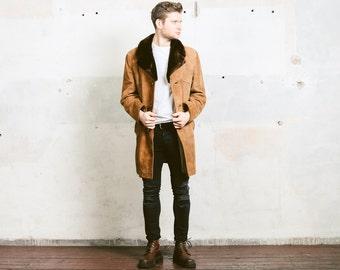 Men's Sheepskin Coat . Suede Sherpa Shearling Jacket Vintage 70s Winter Leather Brown Mouton Fur Collar Overcoat Outerwear . size Large L