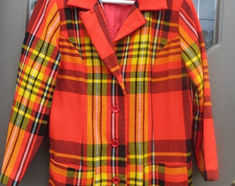 FAB 70s womens  red black orange  yellow plaid acrylic/ wool blend   blazer / jacket  small/med