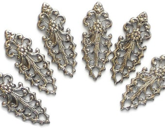 Vintage Drops Victorian Art Nouveau Filigree Dangles Connectors Silver Gun Metal. #1418