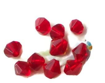 Vintage Glass Beads Ruby Red Siam 6mm NOS Czech Bicone Rich Bead. #585