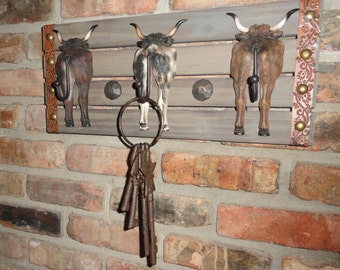 steers tail prong coat rack hooks texas ranch style wall decor barbed wire cattle ranch design - Western Wall Decor