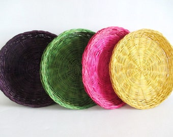 8 Wicker Paper Plate Holders Colored Eggplant Purple Fuchsia Pink Kelly Green Yellow Vintage