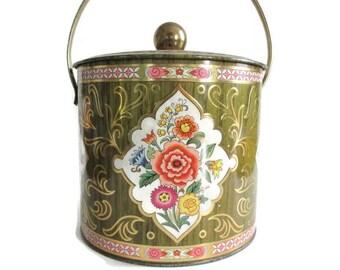 Vintage Daher Tin Round Biscuit Barrel Swing Handle