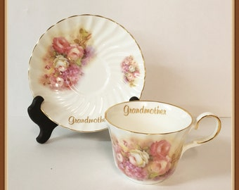 Grandmother China Cup and Saucer, by Royal Patrician, Fine Bone China, Staffordshire, England, Vintage 1980's