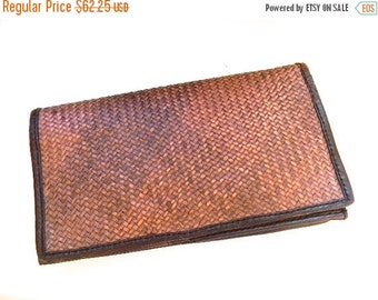 20% OFF SALE vintage.  Large Woven Leather Clutch Wallet