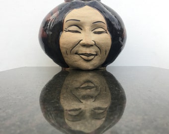 Large Vase Face Sculpture Ikebana Pot, Buddha Head Open Mind Art Jar